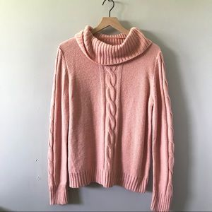 Studio Works Pink Cowl Neck Cable Sweater Sz L